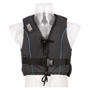 Besto dinghy zipper black-aqua striping voorkant