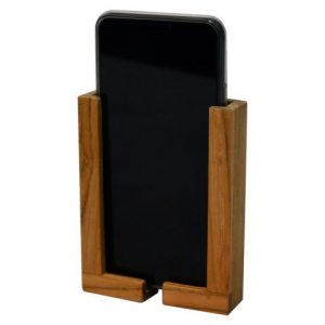 Smartphone houder instelbaar op maat teak